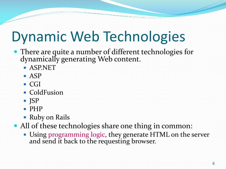 Dynamic Web Technologies