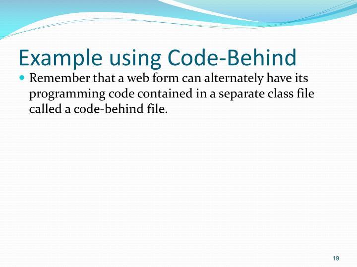 Example using Code-Behind