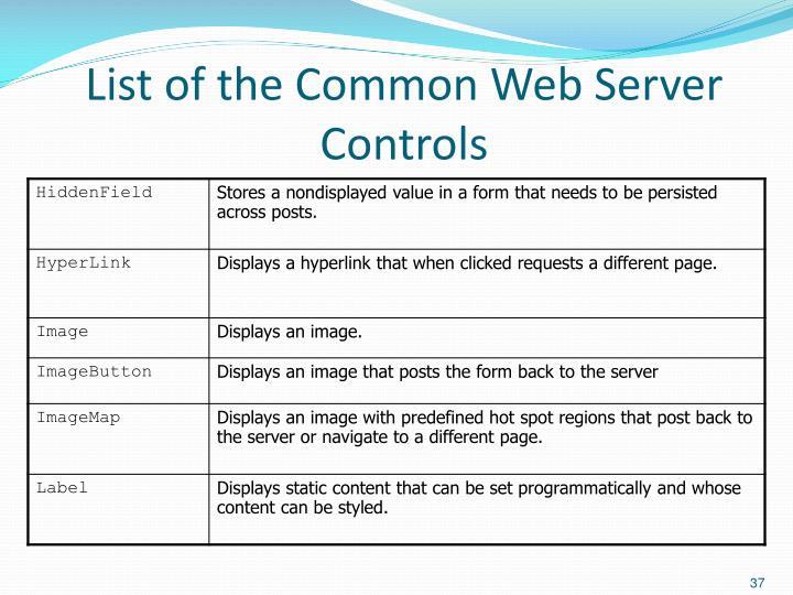 List of the Common Web Server Controls