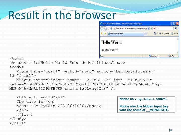 Result in the browser