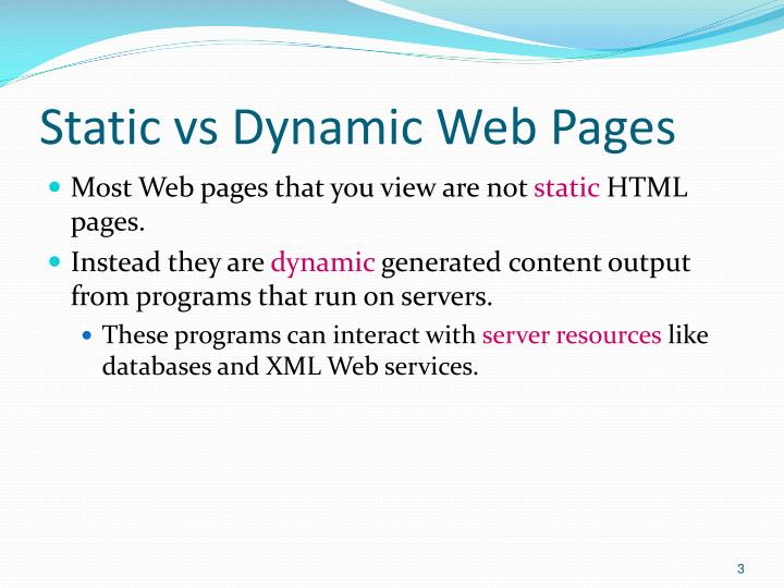 Static vs Dynamic Web Pages