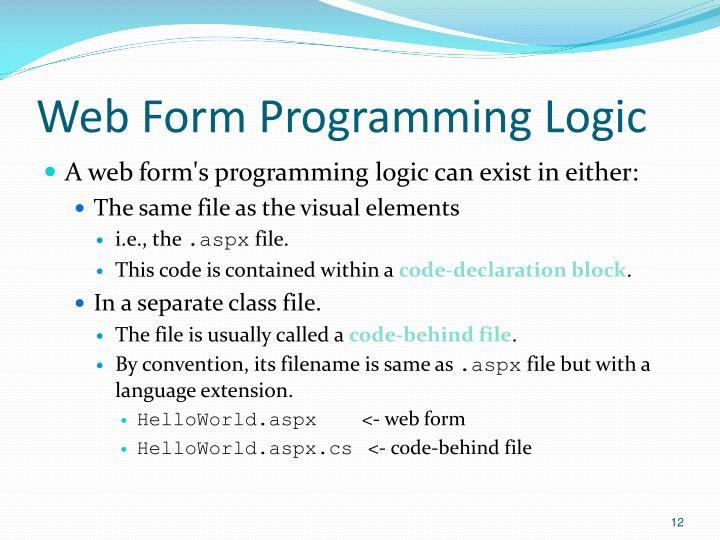 Web Form Programming Logic