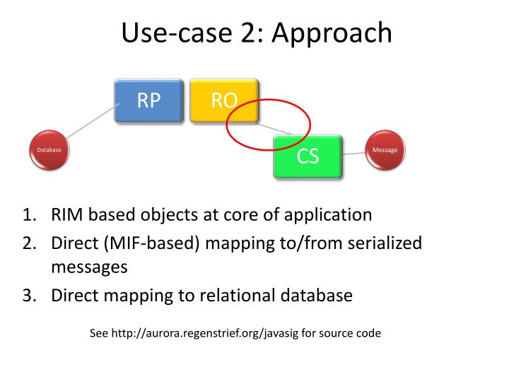 Use-case 2: Approach