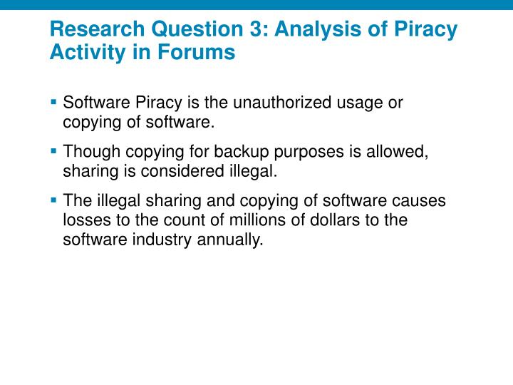 Research Question 3: Analysis of Piracy Activity in Forums