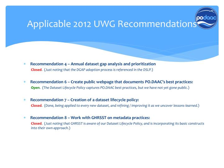 Applicable 2012 UWG Recommendations
