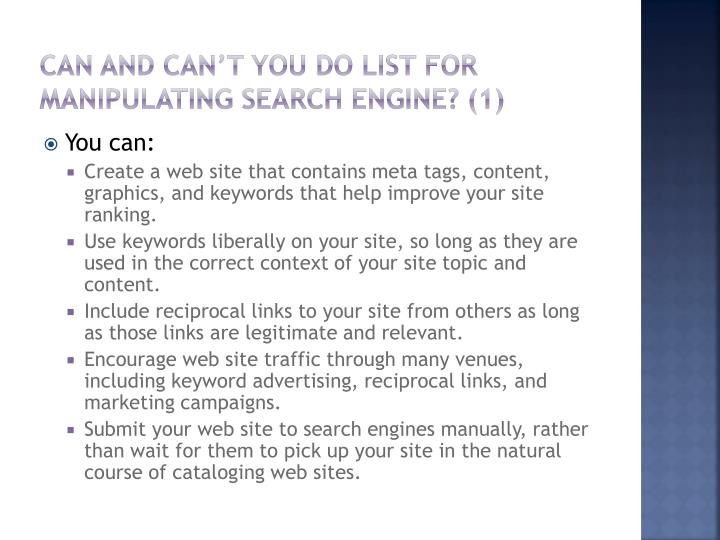 Can and can't you do List for manipulating Search engine? (1)