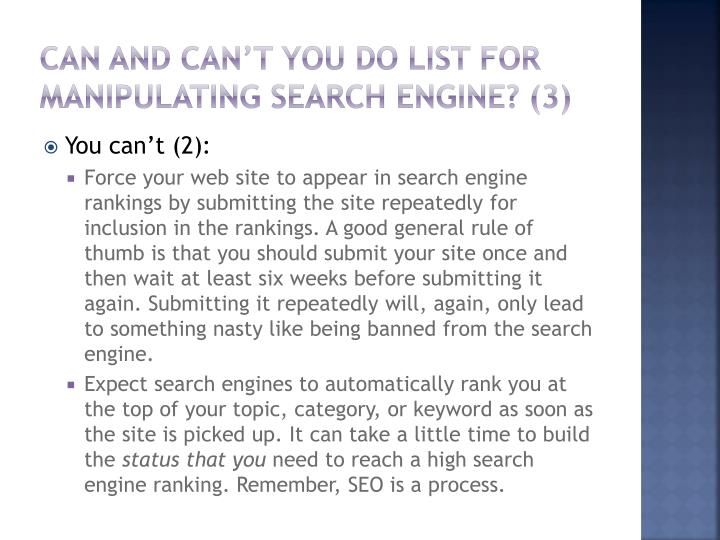 Can and can't you do List for manipulating Search engine? (3)