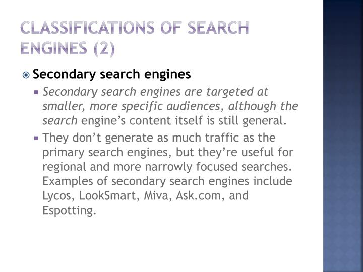 Classifications of Search Engines (2)