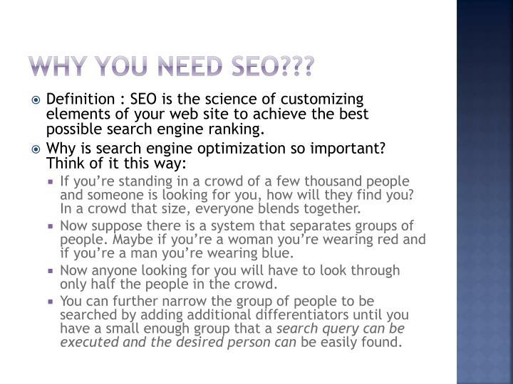 Why You Need SEO???