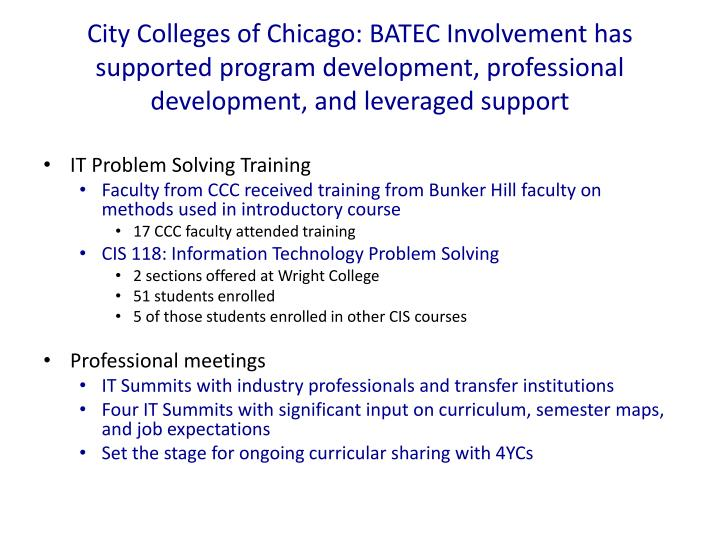 City Colleges of Chicago: BATEC Involvement has supported program development, professional development, and leveraged