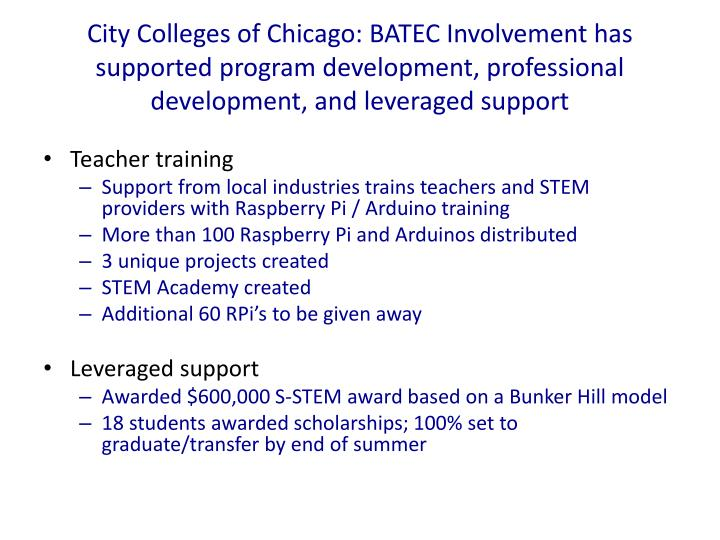 City Colleges of Chicago: BATEC Involvement has supported program development, professional development, and leveraged support