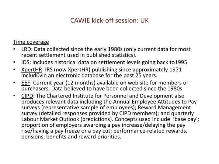 CAWIE kick-off session: UK
