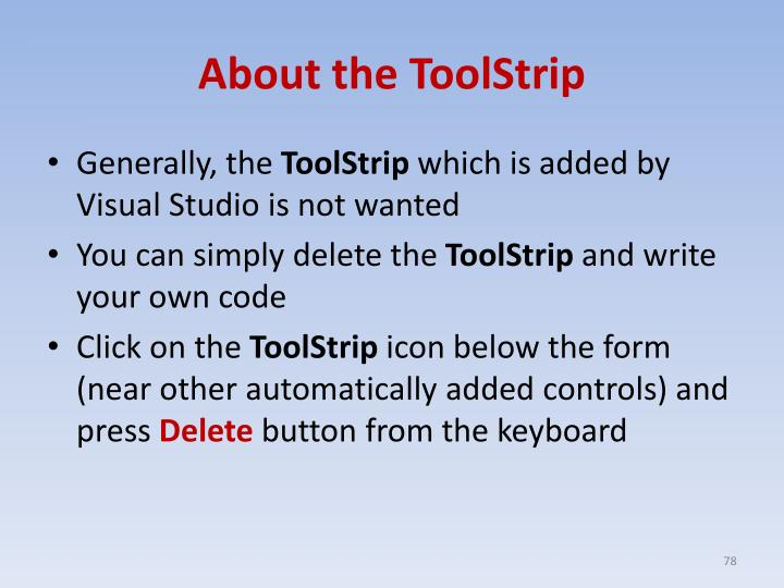 About the ToolStrip