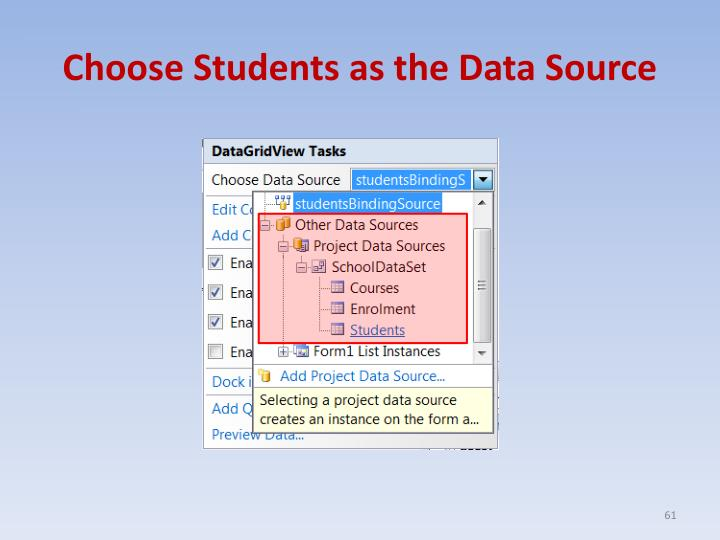 Choose Students as the Data Source