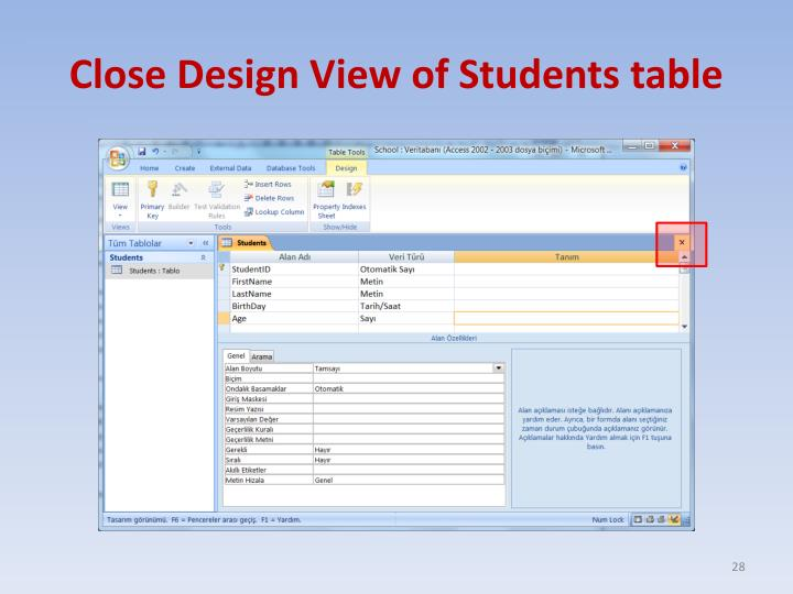 Close Design View of Students table