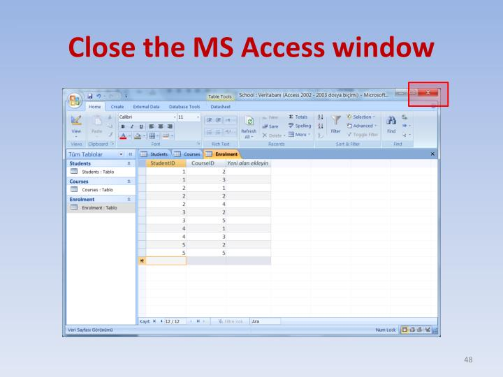 Close the MS Access window