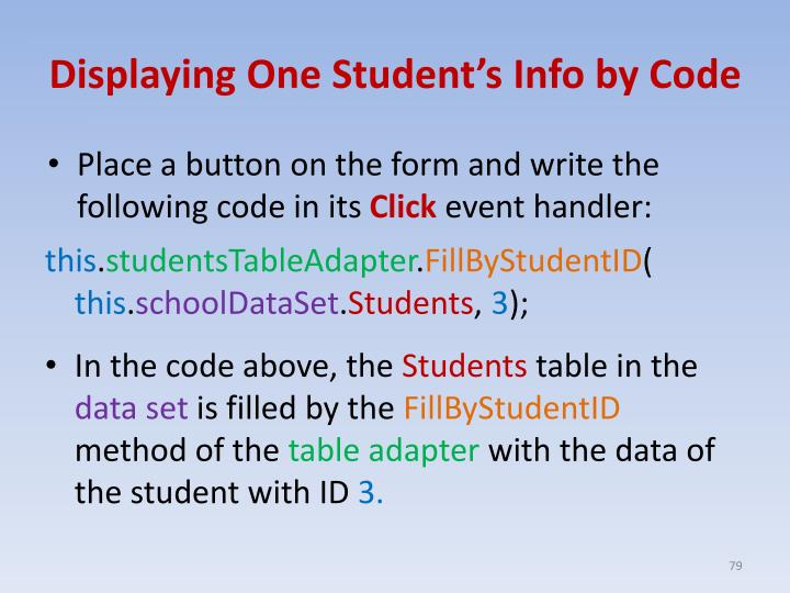 Displaying One Student's Info by Code
