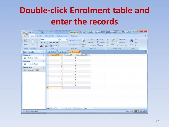 Double-click Enrolment table and enter the records