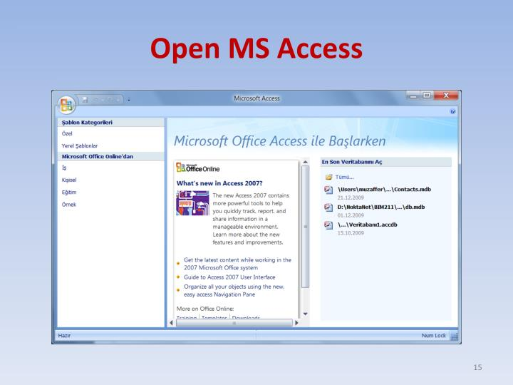 Open MS Access