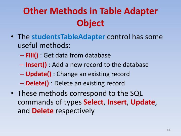 Other Methods in Table Adapter Object
