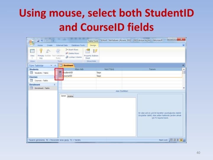 Using mouse, select both