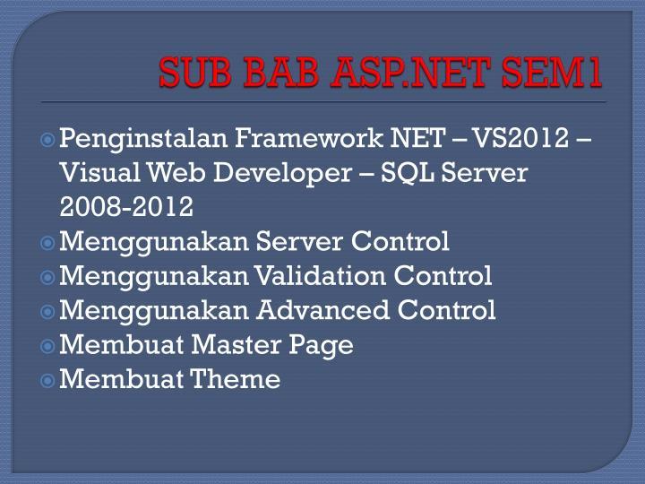 SUB BAB ASP.NET SEM1