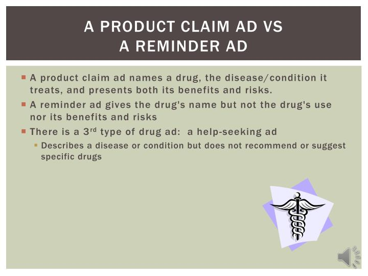 a product claim ad VS