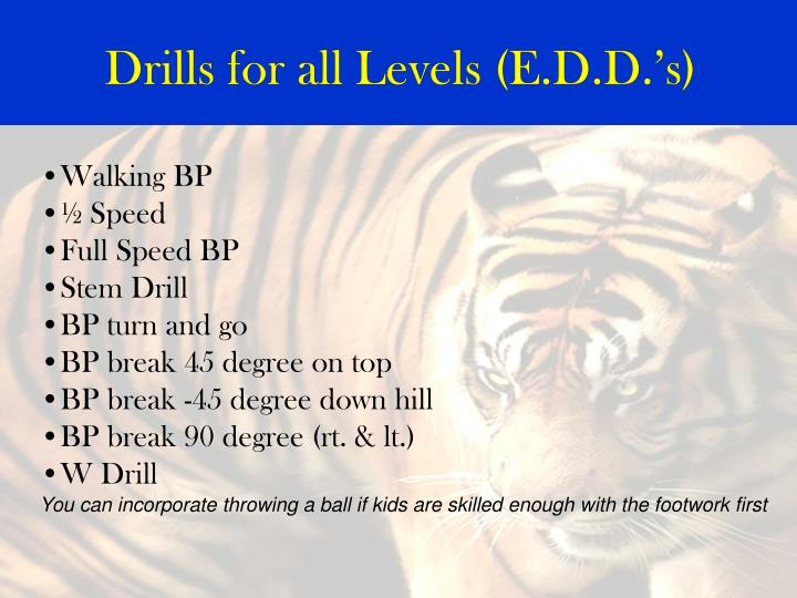 Drills for all Levels (E.D.D.'s)