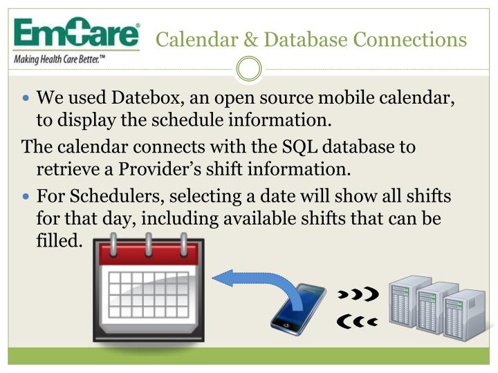 Calendar & Database Connections