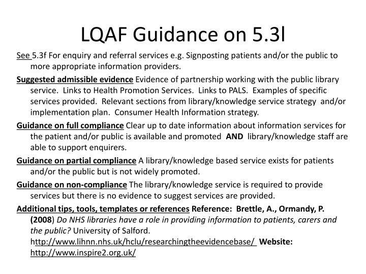 LQAF Guidance on 5.3l