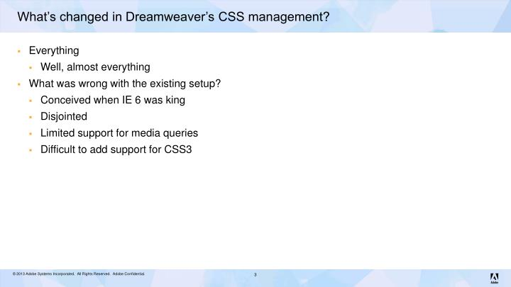 What s changed in dreamweaver s css management