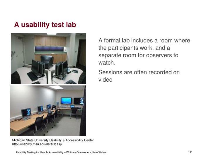 A usability test lab