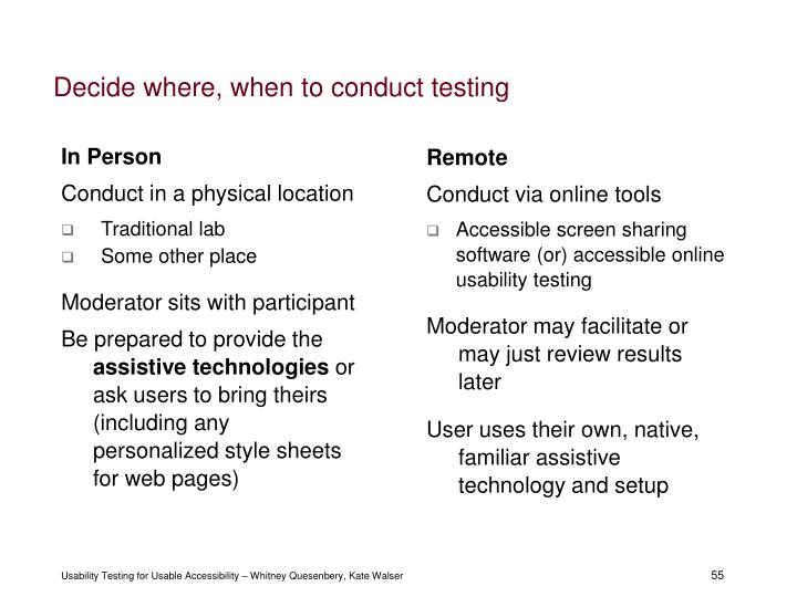 Decide where, when to conduct testing