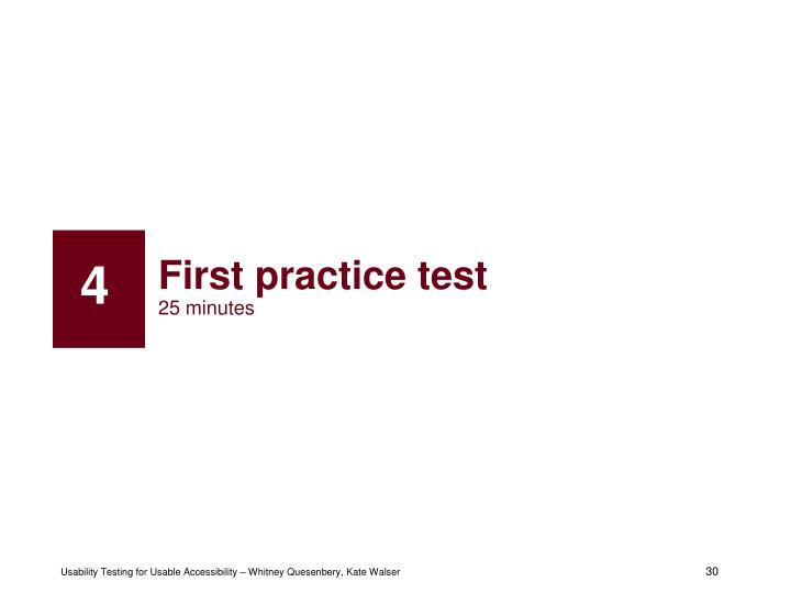 First practice test