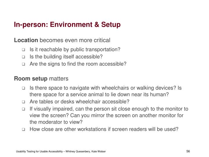 In-person: Environment & Setup