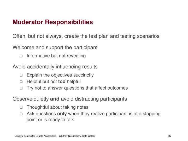 Moderator Responsibilities
