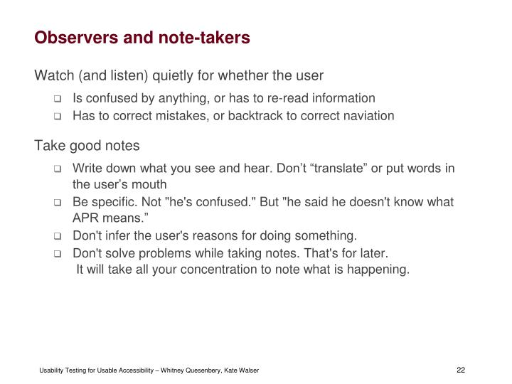 Observers and note-takers