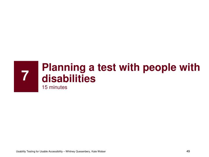 Planning a test with people with disabilities