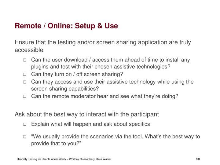 Remote / Online: Setup & Use