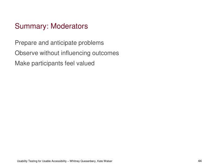 Summary: Moderators