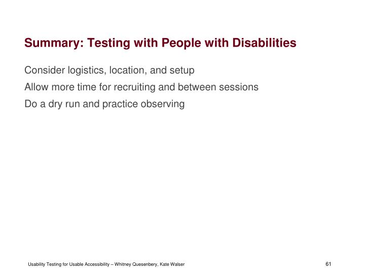 Summary: Testing with People with Disabilities