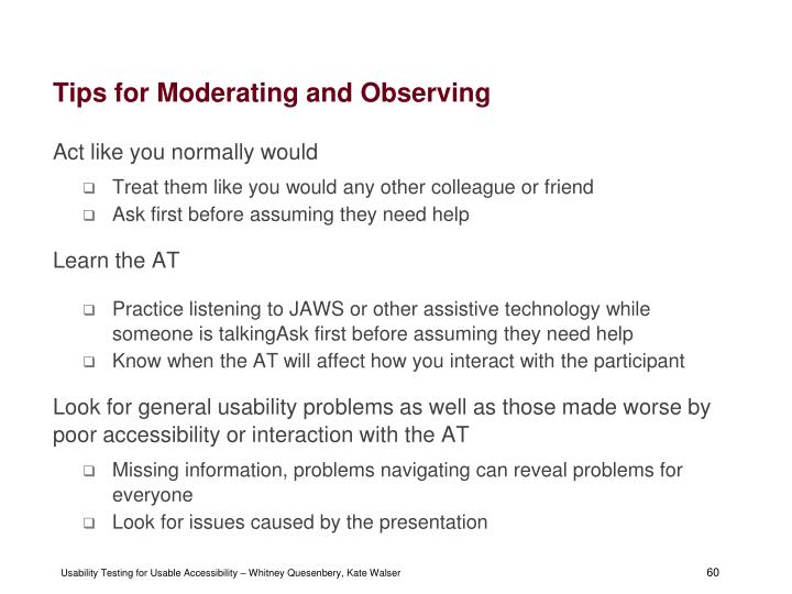 Tips for Moderating and Observing