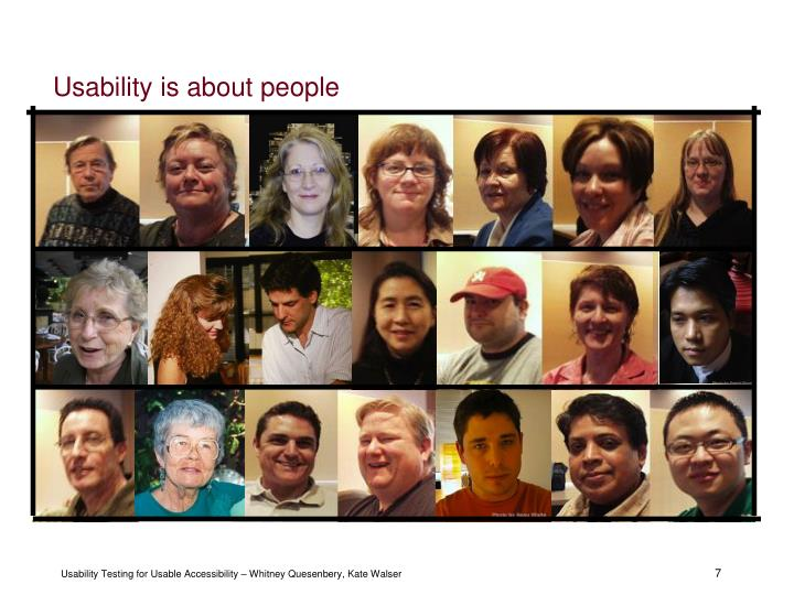Usability is about people