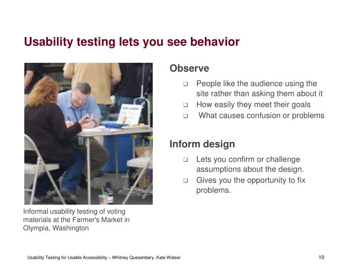 Usability testing lets you see behavior