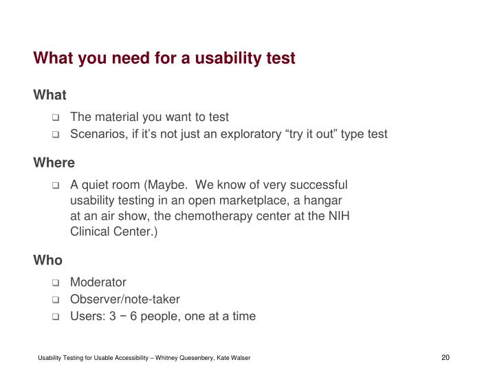 What you need for a usability test