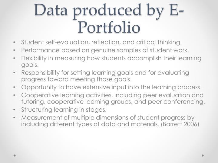 Data produced by E- Portfolio