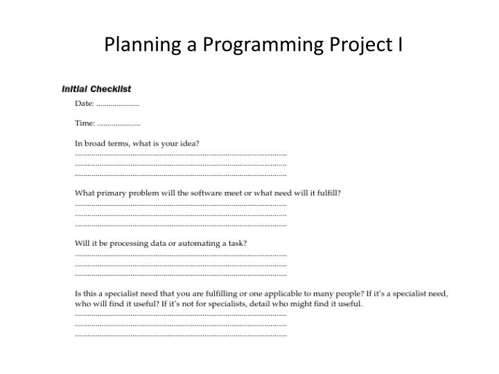 Planning a Programming Project I