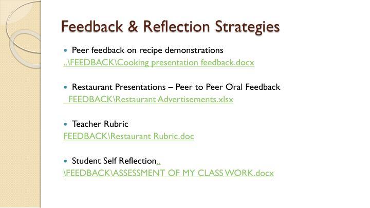 Feedback & Reflection Strategies