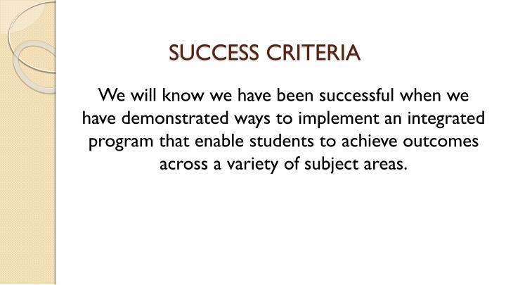 SUCCESS CRITERIA
