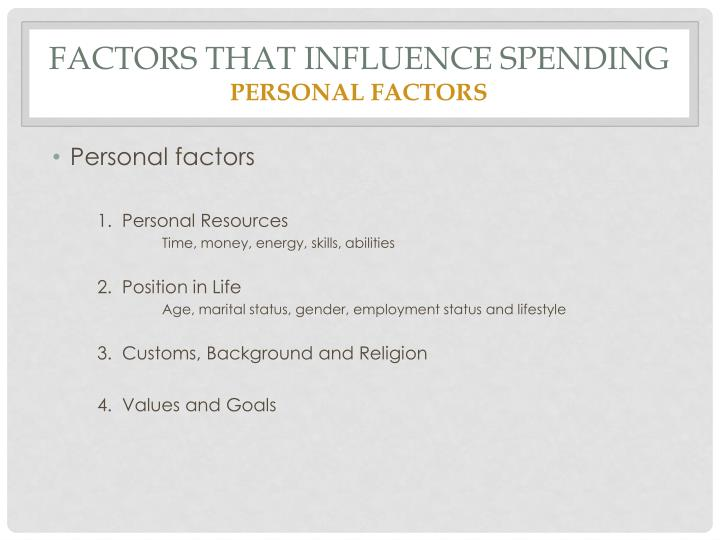 Factors that influence spending